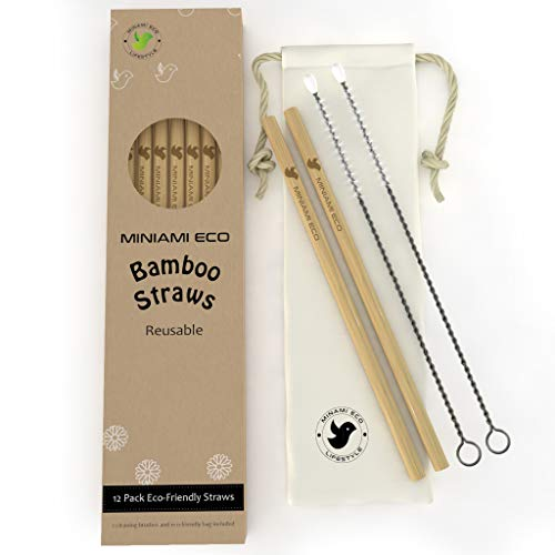 12 REUSABLE ORGANIC BAMBOO DRINKING STRAWS - 8 inch set with 2 bonus cleaning brushes and cotton bag | biodegradable | plastic ()