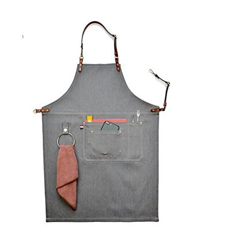 Luchuan Grey Denim Canvas Card Washed Over Wax Dry Apron Waxed Canvas Apron (33.5 by 24.5inch) by Luchuan