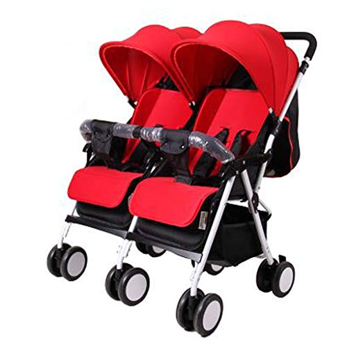 Lightweight Double Stroller, Independently Reclining Seats, Easy Fold, Storage Basket, Tandem Double Toddler & Baby Stroller(Dark Red, Khaki, Red, Purple, Blue) (Color : Red)