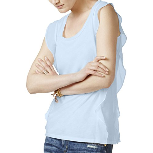 MICHAEL Michael Kors Womens Chiffon Cascade Ruffle Blouse Blue XL Chiffon Cascade