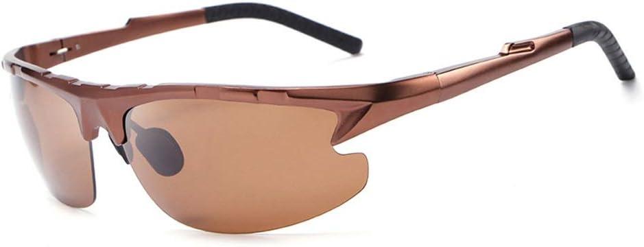Z.L.F Occhiali Guida in Esecuzione Sport polarizzati Occhiali da Sole in Lega di magnesio Alluminio Occhiali da Sole per Gli Uomini (Color : Grigio) Marrone