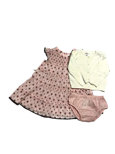 Carter's 3 Piece Pink Floral Dress, Diaper Cover and White Sweater Set. 6 m ()
