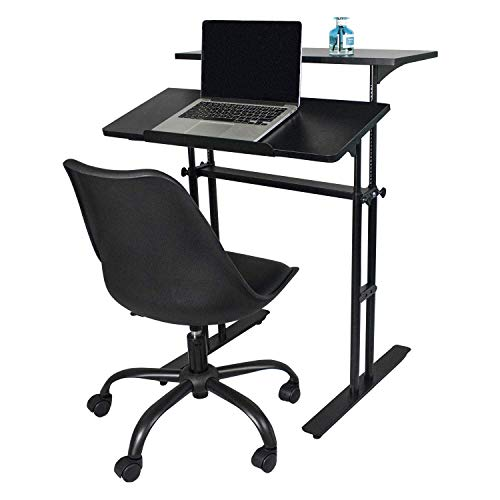 Heyesk Stand Up Desk Height Adjustable Home Office Desk with Standing (Black) by heyesk (Image #4)