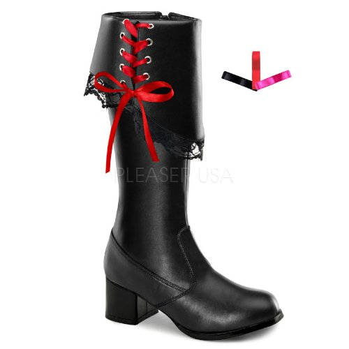 Funtasma Girl's Pirate 132 Boots,Black,M (Girls Pirate Boots)