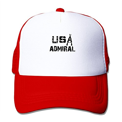 America Army Forces Admiral Polyester Foam Nylon Mesh Hat Red