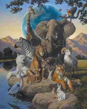 African Animals Paper Tole 3D Craft Kit size 8x10 8-0104