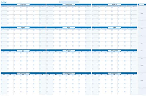 Sky Blue Large Yearly Undated Dry/Wet-Erase Calendar 38 in. x 58 in. with monthly January -December listed (MA)