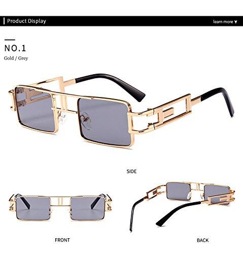 Gafas marca De luneta sol del Hykis con vapor Soleil punk de sol del dise Cuadrado marco de ador UV manera metal la de vendimia gris hombres la Protecci¨®n S04Tq