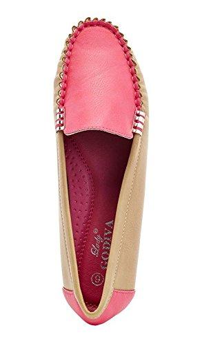 Lady Godiva Mocassini Casual Colorati Slip-on Mocassini Scarpe Da Barca Piatte Rosa