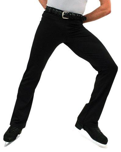 (ChloeNoel M01-2 Elastic Waist Men's Figure Skating Pants Black Child Extra Large/Adult Extra Small)