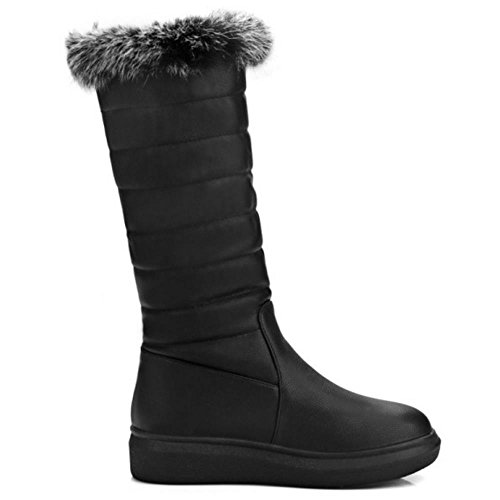 Snow Winte KemeKiss Mid Warm Black Boots Calf Comfort Faux Fur Women Flat nCIq8