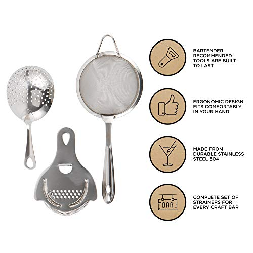 Cocktail Strainer Set: Stainless Steel Hawthorne Strainer, Julep Strainer and Conical Fine-Mesh Strainer by Top Shelf Bar Supply by Top Shelf Bar Supply (Image #1)