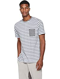 "<span class=""a-offscreen"">[Sponsored]</span>Young Men's Printed Stripe Cotton Blend Pocket Tee Henley Top"