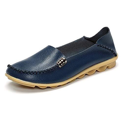 En Doux Paresseux Mocassins 39 Taille Femme coloré Casual Grande Slip De Bleu Bleu Chaussures Cuir Plats Sur Plat Eu Zhrui wRqAXvx