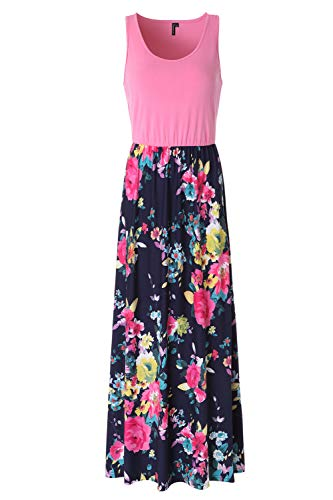 Zattcas Womens Summer Contrast Sleeveless Tank Top Floral Print Maxi Dress (XX-Large, Pink Navy ()