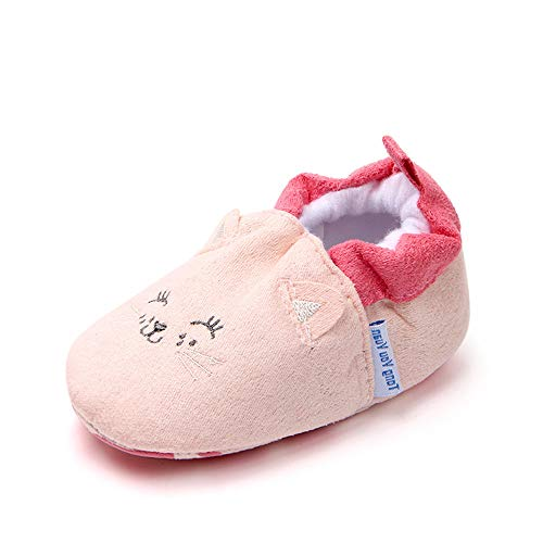 Save Beautiful Cute Cartoon Infant Unisex Baby Warm Cotton Anti-Slip Soft Sole First Walkers Shoes (0-6 Months, cat)