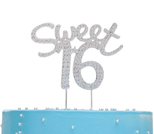 Jewelry Monogram Cake (LOVENJOY - Gift Box - Sweet 16 Cake Topper Rhinestone Decoration Silver (4.7-inch))