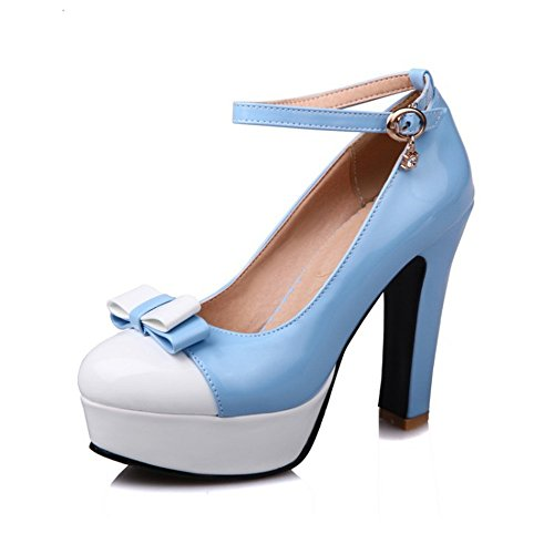 Superficial Alto Zapatos Mujer QXH Grueso de Cabeza de Tacón Redonda Inferior Boca Sandalias Blue xXRqzdwR