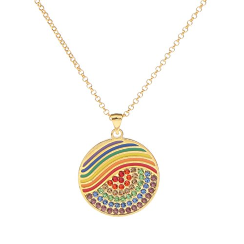D DOLITY LGBT Gay Pride Rainbow Pendant Necklace with Chain LGBT Flag Charms Jewelry - Round (Glitter Flag Charm)