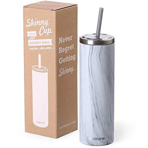 Cupture Stainless Steel Skinny Insulated Tumbler Cup with Lid and Reusable Straw - 16 oz (White Marble) -