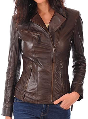 KYZER KRAFT Womens Leather Jacket Bomber Motorcycle Biker Real Lambskin Leather Jacket for Womens - Outerwear Lambskin Leather Bomber