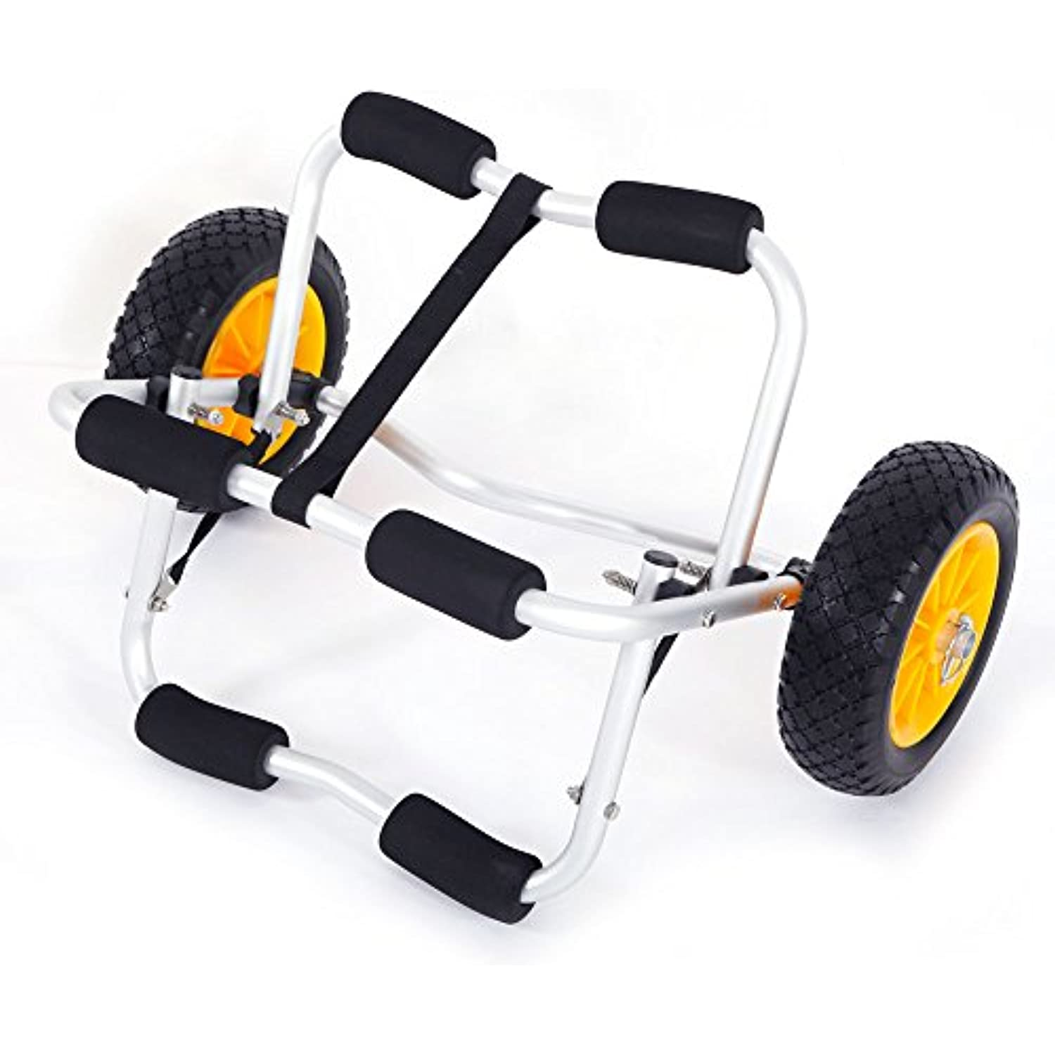Binrrio Kayak Cart, Portable Folding Boat Kayak Canoe Tote Trolley Carrier Heavy Duty Aluminum Alloy Dolly Trailer Removable 2 Wheels Kayak Transport Cart with Ratchet Straps Silver