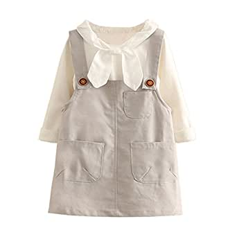 Mud Kingdom Girls' White Blouse and Overall Dress Outfit 3T Gray