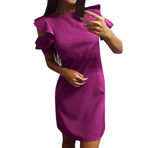 PAOLIAN Damen Kleider,Frauen Kurzarm Beiläufiges Minikleid Tunika Rüschen Strand loses Partei-Kleid Cocktailkleid Hot Pink