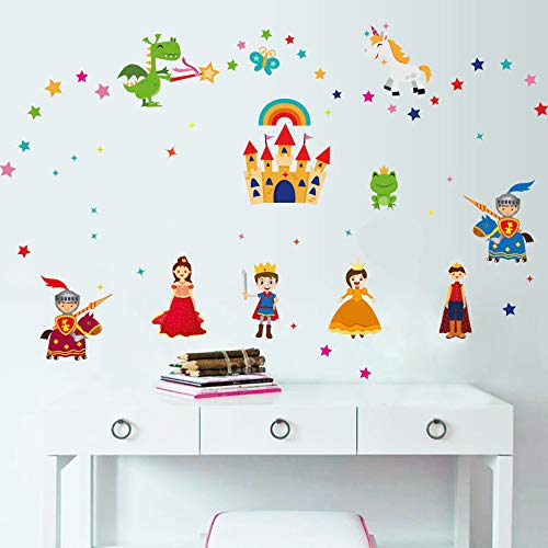 ufengke Prince and Princess Wall Stickers Castle Knights Wall Art Decals Wall Decor for Kids Bedroom Nursery Living ()