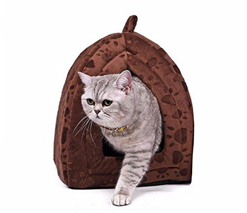 Winter Warm Cotton Bed Pet Cat House Lovely Soft Suitable Pet Cusion (Brown)