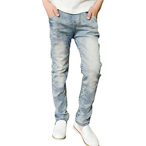 new Tortor 1Bacha Kid Boys' Distressed Washed Jeans Elastic Waist Denim Pants get discount