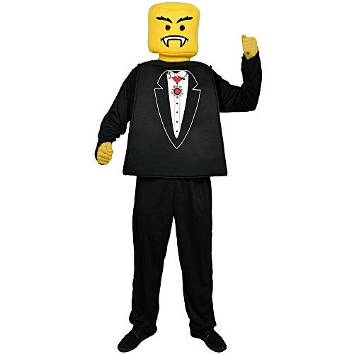 Morphsuits Men's Morphcostume Co Mr. Block Head Vampire Tux Unisex Costume, Yellow/Black, One Size