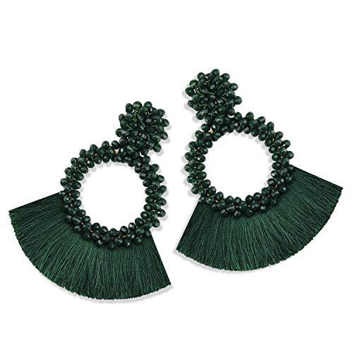 Statement Tassel Bead Earrings for Women, Drop Dangle Round Beaded Hoop Fringe Bohemian Earrings Women Girl Novelty Fashion Summer Accessories - E1 Dark Green