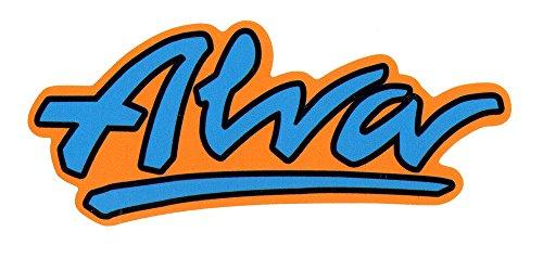 Alva Skates OG Logo Skateboard Sticker - 11cm wide approx. Official Old School Reissue Blue/Orange (Old School Skates)