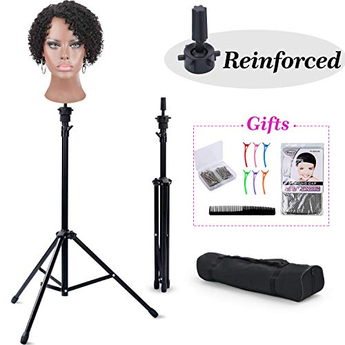 Reinforced Wig Stand Tripod Mannequin Head Stand, T-SIGN Adjustable Wig Head Stand Holder for Cosmetology Hairdressing Training with Wig Caps, T-Pins, Comb, Hair Clip, Carrying Bag