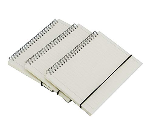 (3 Pack)Transparent Hardcover Spiral Notebook/students and office,Writing diary Subject Notebooks,College Ruled,80 Sheets (160Pages)-8.35x 5.75inch,A5 size.Kraft Paper Hardcover (Lines)