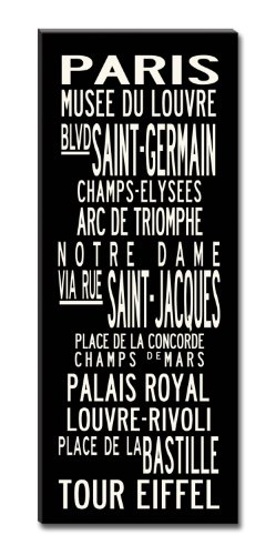 Uptown Artworks Paris Subway Sign Art Gallery Wrapped Canvas, Black and Vintage White, 20 by 50-Inch