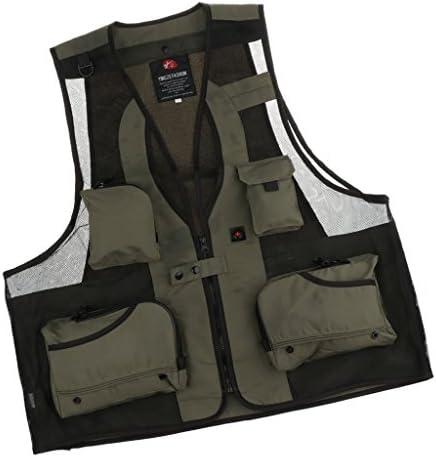 Spring Autumn Mens Multi Pocket Mesh Vest Fishing Hunting Photo Jacket Waistcoat