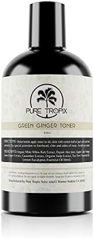 Pure Tropix Green Ginger Toner For Face | Tea Tree Oil Face Wash | Anti Aging Cream | Acne & Ingrown Hair Treatment Ingredients 10 oz (295) ml