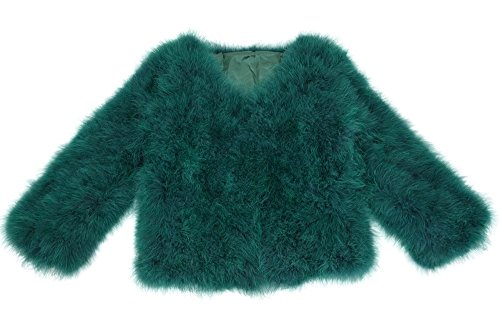 Jancoco Max Women Real Ostrich Fur Coat Genuine Feather Winter Jacket Overcoat Long Sleeves Green