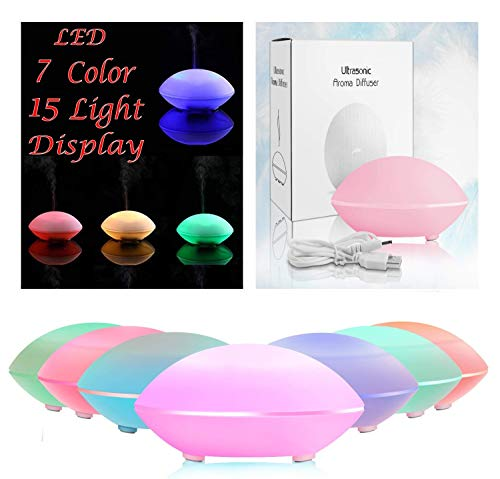 Ultrasonic Aroma Essential Oil Diffuser, Cute Shell Shape Aromatherapy air fresh USB 80ml with 7 Colors and Waterless Auto Shut-Off Atomization 6-8 Hours for Home/Bedroom/Office (Pink) ()