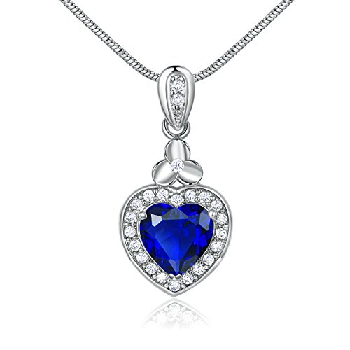 GULICX Hear shape White Silver Tone Blue Sapphire Color Agate love Pendant Necklace ()