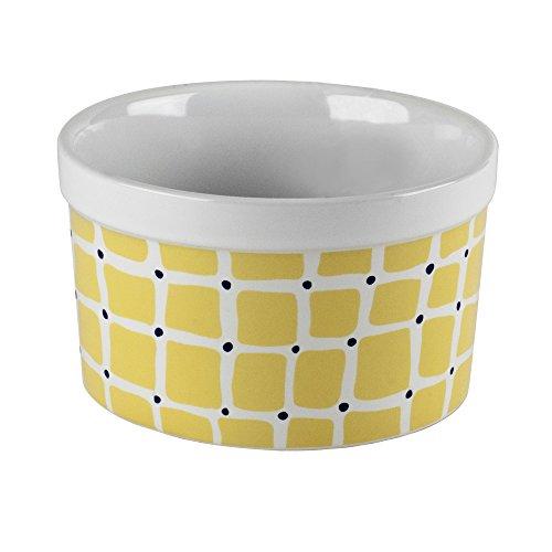 Kris Ruff Ceramic Scrollwork Ramkin Serving Bowl White Yellow