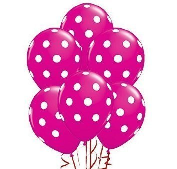 Qualatex Big Polka Dots White/Wild Berry Biodegradable Latex Balloons, 11-Inches (12-Units) -
