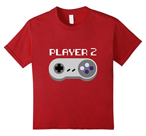 [Kids Player 2 Video Game Group Halloween Costume T-shirt 6 Cranberry] (Gaming Costumes)