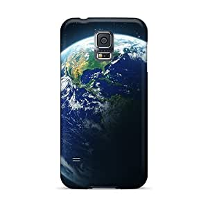 EQE14219aeQM Snap On Cases Covers Skin For Galaxy S5(earth And Moon From Space)