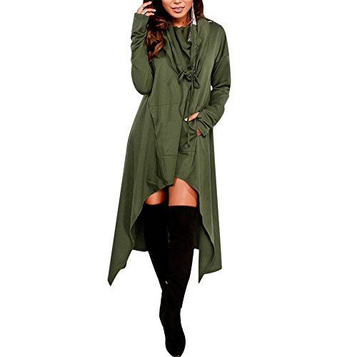 Women's Pullover Hoodie Long Sleeve Asymmetric Hem Loose Sweatshirt Dress with Pockets Green L -