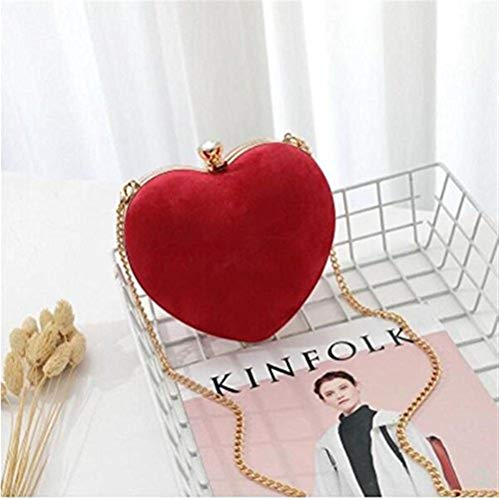 Red diagonale Dinner Sveglio Late Party Cuore Evening La New in Strass Red Grey Attività Pogo donna Pink Sweetheart Borsa Banchetto Love Banchetto Rosso Matrimonio Gift Crystal Light velluto Heart BqPqOwACx