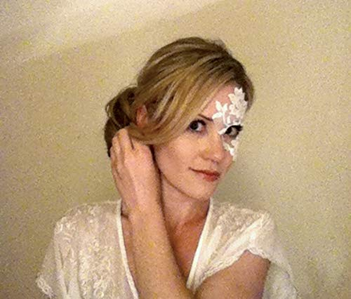Adhesive White Lace Masquerade Mask by LacedAndWaisted - Reusable, adheres to face (includes liquid adhesive) no stick or strap needed! (strapless) -