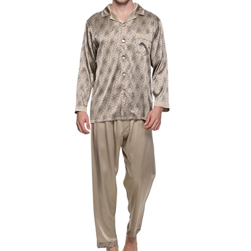 Chesslyre Mens Silk Pajamas Set Classic Sleepwear Sets for Men by Chesslyre